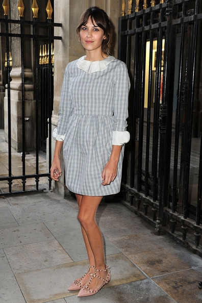 Alexa Chung in Valentino Studded Shoes