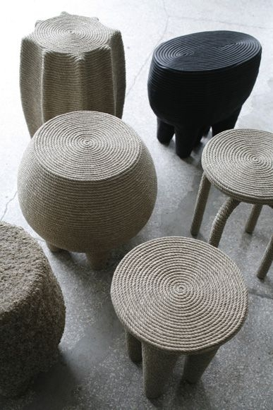 Natural Hemp Rope Stool by Christian Astuguevieille