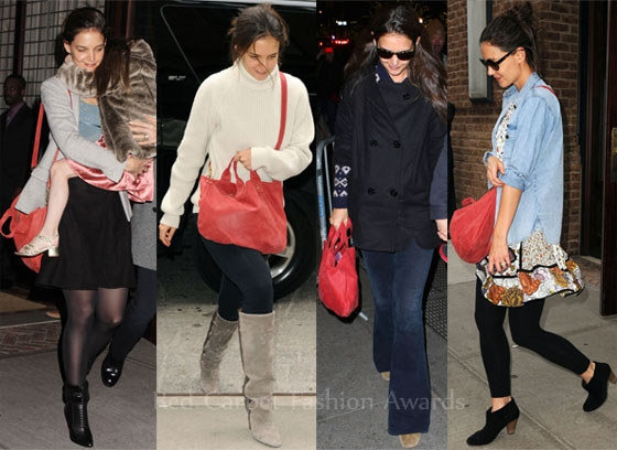 Katie Holmes with Her Ubiquitous Clare Vivier Messenger